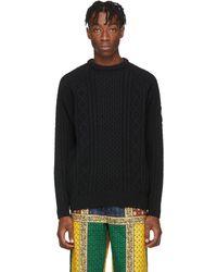 Noah Black Fisherman Sweater