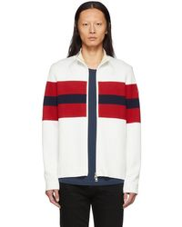 Moncler White And Red Zip-up Cardigan