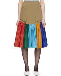 Kiko Kostadinov Tan And Multicolour Fraser Skirt