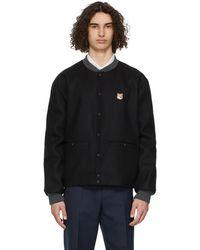 Maison Kitsuné ブラック Teddy ボンバー ジャケット