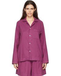 Tekla Chemise de pyjama mauve en flanelle - Violet