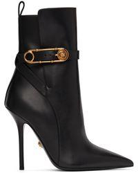 Versace ブラック レザー ブーツ