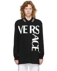 Versace ブラック ロゴ ロング スリーブ ポロシャツ