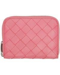Bottega Veneta - ピンク イントレチャート ジップ コイン ケース ウォレット - Lyst