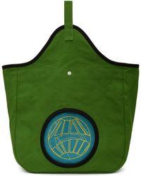 Kiko Kostadinov Green And Blue Aristides Embroidery Tote