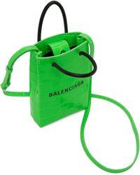 Balenciaga - グリーン クロコ ショッピング フォン ホルダー バッグ - Lyst