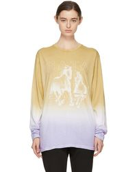 Baja East - Tan And Purple Long Sleeve Freedom T-shirt - Lyst