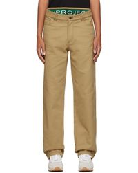 Y. Project Khaki Boxer Trousers - Natural