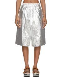 Juun.J Silver Foil Shorts - Metallic