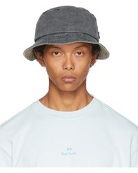 PS by Paul Smith Grey Denim Bucket Hat - Black