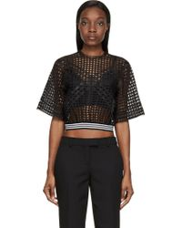 Denis Gagnon - Black Lattice Mesh Short Sleeve Top - Lyst