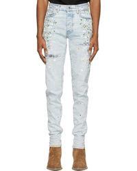 Amiri - Blue Hand-painted Slit Jeans - Lyst