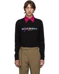 Givenchy ブラック ウール シグネチャ ロゴ セーター