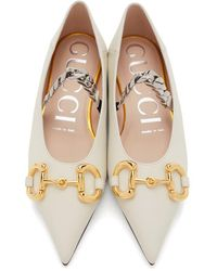 Gucci Horsebit Ballet Flats - White