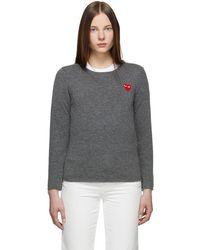 COMME DES GARÇONS PLAY - グレー ハート パッチ セーター - Lyst