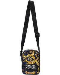 Versace Jeans Blue And Yellow Barocco Messenger Bag