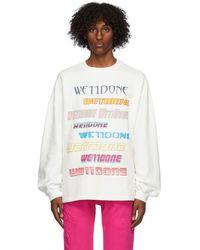 we11done ホワイト フリース ロゴ スウェットシャツ
