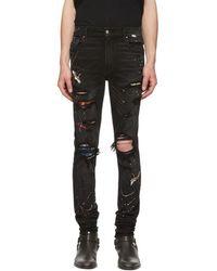 Amiri Black Painted Art Patch Jeans