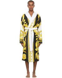Versace ホワイト And ゴールド Crete De Fleur ローブ - メタリック
