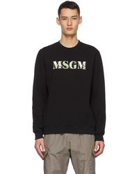 MSGM ブラック カー二ヴォ― プラント ロゴ スウェットシャツ