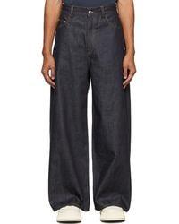 Sunnei Navy Wide Denim Jeans - Blue