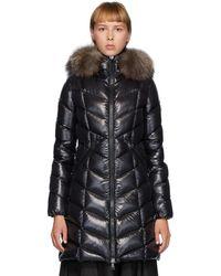 Moncler Manteau en duvet et fourrure noir Fulmarus