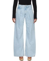 Goldsign + Net Sustain Pleated High-rise Wide-leg Jeans - Blue
