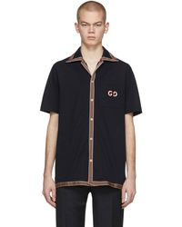 Gucci Navy GG Embroidery Polo - Blue