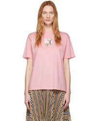 Burberry ピンク ディア オーバーサイズ T シャツ