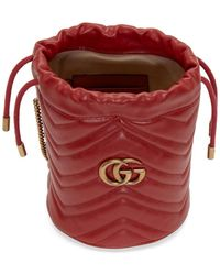 Gucci Red Mini GG Marmont 2.0 Bucket Bag