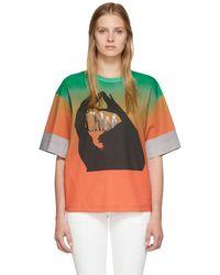 Chloé グリーン And オレンジ マーセライズ ロゴ T シャツ
