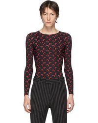 Marine Serre Ssense Exclusive Black And Red Moon Allover Long Sleeve T-shirt