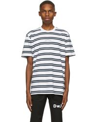 Daniel W. Fletcher T-shirt à logo blanc et bleu marine Double Stripe