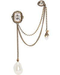 Alexander McQueen Gold Pearl Ear Cuff Single Earring - Multicolour