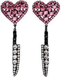 Ashley Williams ブラック & ピンク Heart Knife クリップオン イヤリング - マルチカラー