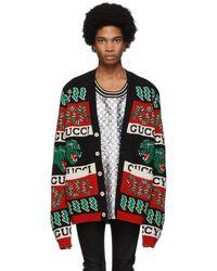 Gucci ブラック And マルチカラー ジャカード シンボル カーディガン