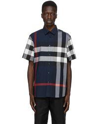Burberry Short-sleeve Check Stretch Cotton Poplin Shirt - Blue