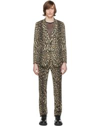 Dries Van Noten Black And Beige Wool Leopard Suit - Natural