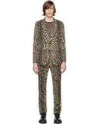 Dries Van Noten ブラック And ベージュ ウール Leopard スーツ - ナチュラル