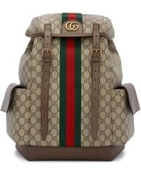 Gucci Brown Medium GG Ophidia Backpack - Natural