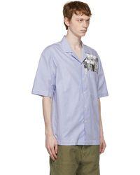 President's Chemise à manches courtes à image imprimée et rayures fines bleue Rangi