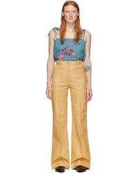 Gucci Yellow Leather Flare Pants