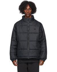 adidas Originals ブラック パッド スタンド カラー パファー ジャケット