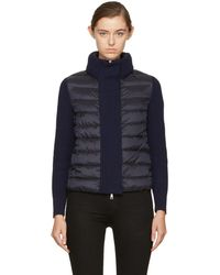 Moncler - Black And Navy Down Knit Jacket - Lyst
