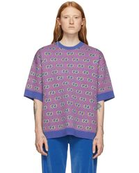 Gucci Blue And Pink Jacquard Stripe GG Short Sleeve Sweater - Purple