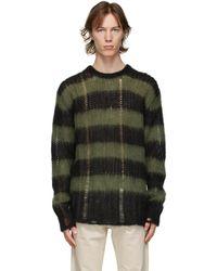 Golden Goose ブラック & グリーン ストライプ モヘア Algar セーター