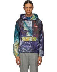 CHARLES JEFFREY LOVERBOY Multicolour Swirls Print Painters Jacket - Blue