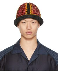 Nicholas Daley Red & Yellow Hand-crocheted Bucket Hat - Blue