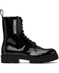 Moschino ブラック レザー コンバット ブーツ