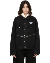 we11done Wd Logo Zipper Detail Denim Jacket - Black